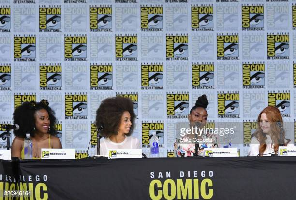 Actors Asha Bromfield Hayley Law Ashleigh Murray and Madelaine Petsch speak onstage at 'Riverdale' special video presentation and QA during ComicCon...