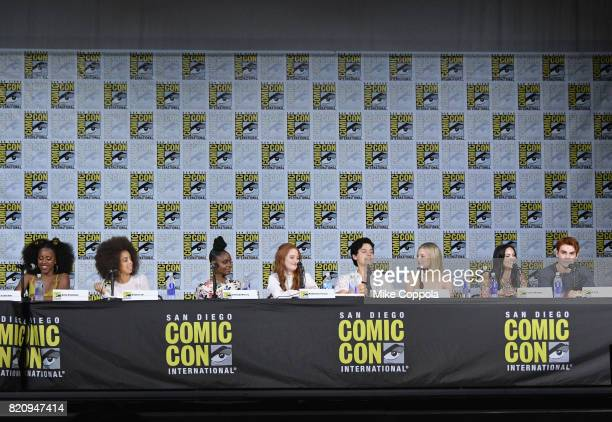 Actors Asha Bromfield Hayley Law Ashleigh Murray Madelaine Petsch Cole Sprouse Lili Reinhart KJ Apa and Camila Mendes speak onstage at 'Riverdale'...