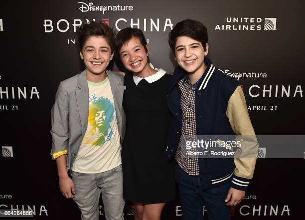 Actors Asher Angel Peyton Elizabeth Lee and Joshua Rush attend the Los Angeles premiere of Disneynature's BORN IN CHINA at the Billy Wilder Theater...
