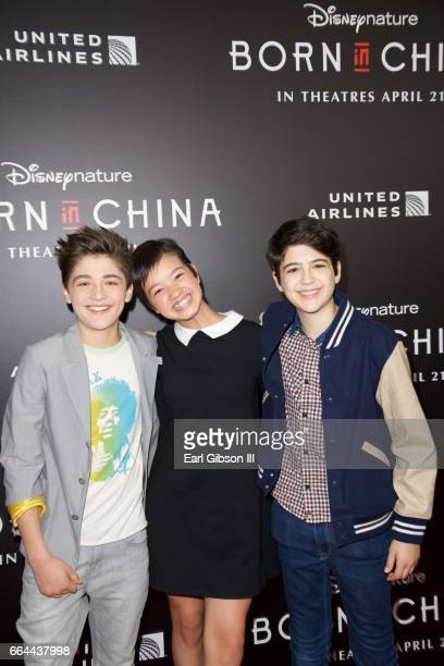 Actors Asher Angel Peyton Elizabeth Lee and Joshua Rush attend the premiere of Disneynature's 'Born In China' at Billy Wilder Theater on April 3 2017...