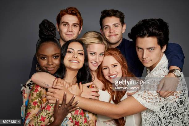Actors Ashleigh Murray KJ Apa Camila Mendes Lili Reinhart Casey Cott Madelaine Petsch and Cole Sprouse from Riverdale are photographed for...