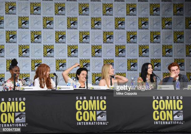 Actors Ashleigh Murray Madelaine Petsch Cole Sprouse Lili Reinhart KJ Apa and Camila Mendes speak onstage at 'Riverdale' special video presentation...