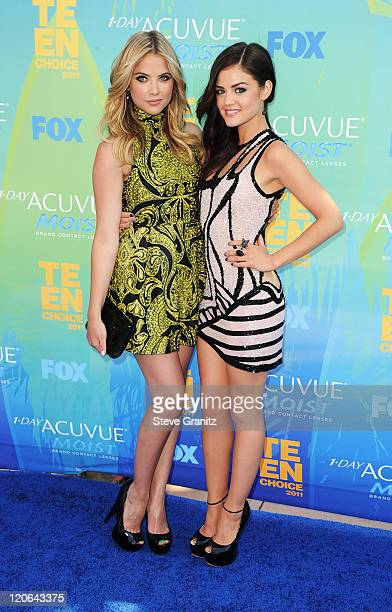 Actors Ashley Benson and Lucy Hale arrive at the 2011 Teen Choice Awards held at the Gibson Amphitheatre on August 7 2011 in Universal City California