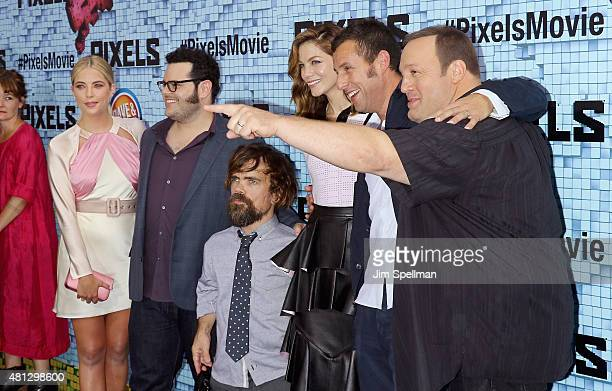 Actors Ashley Benson Josh Gad Peter Dinklage Michelle Monaghan Adam Sandler and Kevin James attend the 'Pixels' New York premiere at Regal EWalk on...
