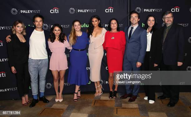 Actors Ashley Benson Tyler Blackburn Janel Parrish Sasha Pieterse and Shay Mitchell executive producer I Marlene King actor Ian Harding actress...