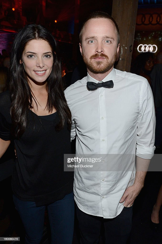 Actors Ashley Greene and Aaron Paul attend the Audi Forum New Orleans at the Ogden Museum of Southern Art on February 2, 2013 in New Orleans, Louisiana.