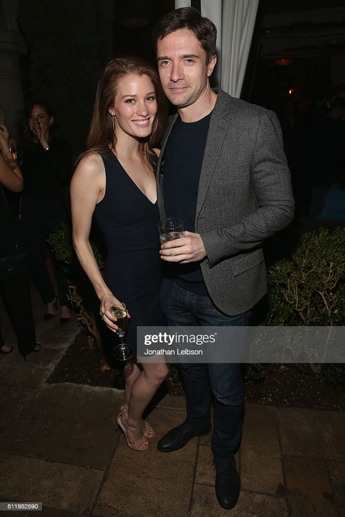 Actors Ashley Hinshaw and Topher Grace attend Vanity Fair and FIAT Young Hollywood Celebration at Chateau Marmont on February 23 2016 in Los Angeles...