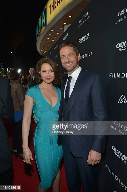 Actors Ashley Judd and Gerard Butler attend Brioni Sponsors Film District's World Premiere Of 'Olympus Has Fallen' ArcLight Cinemas on March 18 2013...