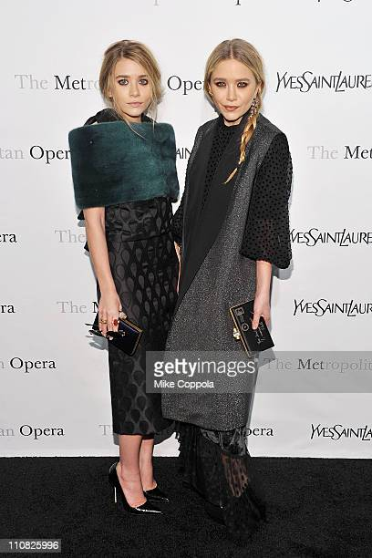 Actors Ashley Olsen and MaryKate Olsen attend the Metropolitan Opera's gala premiere of Rossini's 'Le Comte Ory' at The Metropolitan Opera House on...