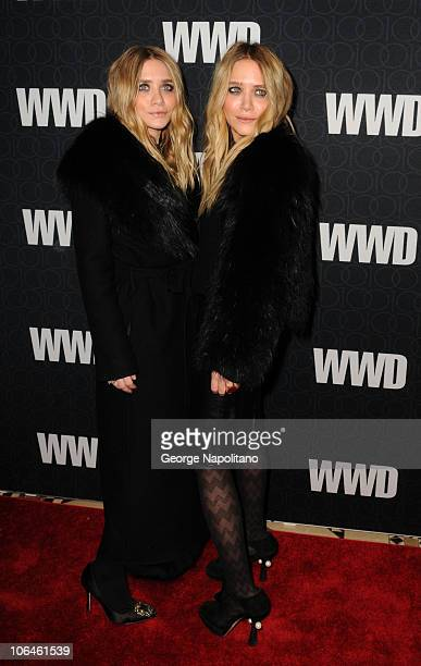 Actors Ashley Olsen and MaryKate Olsen attend the WWD @ 100 Anniversary Gala at Cipriani 42nd Street on November 2 2010 in New York City