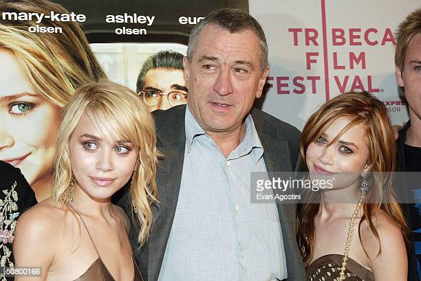 Actors Ashley Olsen Robert De Niro and MaryKate Olsen arrive at the gala premiere of 'New York Minute' during the 2004 Tribeca Film Festival at...