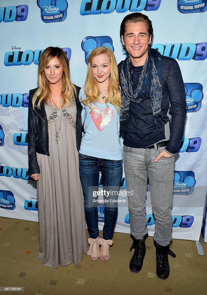 Actors <a gi-track='captionPersonalityLinkClicked' href=/galleries/search?phrase=Ashley+Tisdale&family=editorial&specificpeople=213972 ng-click='$event.stopPropagation()'>Ashley Tisdale</a>, Dove Cameron and Luke Benward arrive at the Disney Channel's Original Movie 'Cloud 9' red carpet premiere on December 18, 2013 in Burbank, California.