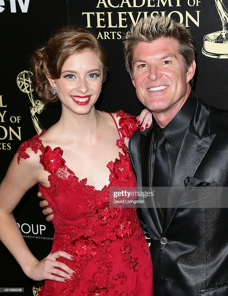 Actors Ashlyn Pearce (L) and Winsor Harmon attend the 41st Annual Daytime Emmy Awards at The Beverly Hilton Hotel on June 22, 2014 in Beverly Hills, California.