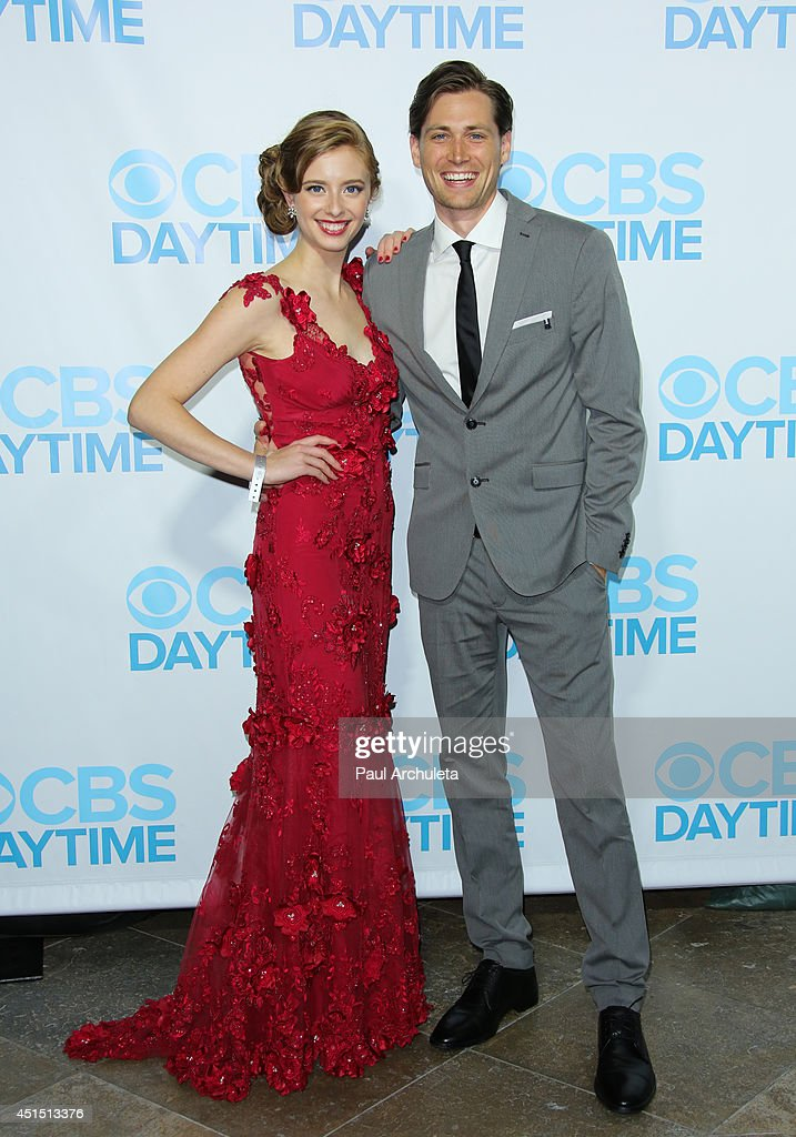 Actors <a gi-track='captionPersonalityLinkClicked' href=/galleries/search?phrase=Ashlyn+Pearce&family=editorial&specificpeople=11286778 ng-click='$event.stopPropagation()'>Ashlyn Pearce</a> (L) and Zack Conroy (R) attend the 41st Annual Daytime Emmy Awards CBS after party at The Beverly Hilton Hotel on June 22, 2014 in Beverly Hills, California.