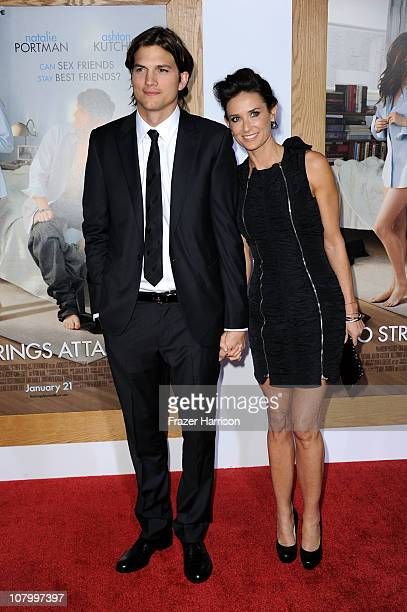 Actors Ashton Kutcher and Demi Moore arrive at Paramount Pictures' 'No Strings Attached' premiere at Regency Village Theater on January 11 2011 in...