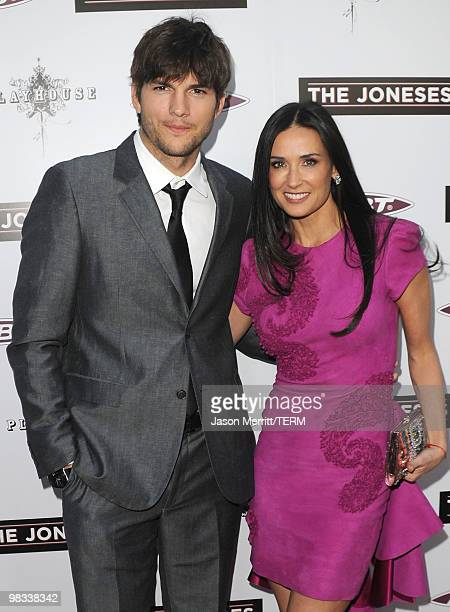 Actors Ashton Kutcher and Demi Moore arrive at Roadside Attractions Echo Lake Entertainment's premiere of 'The Joneses' held at Arclight Hollywood...