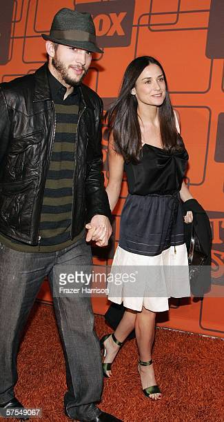 Actors Ashton Kutcher and Demi Moore arrive at the Fox Television 'That 70s Show' wrap party held at Tropicana at The Roosevelt Hotel on may 6 2006...