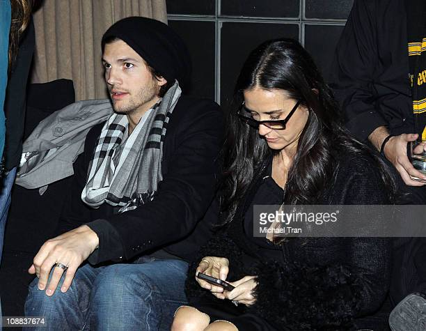 Actors Ashton Kutcher and Demi Moore attend GQ Cadillac Lacoste and Patron Tequila Celebrating the Coolest Athletes and the Big Game hosted by Andy...