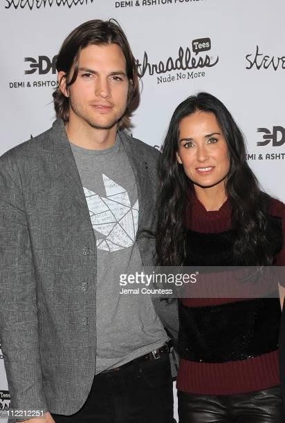 Actors Ashton Kutcher and Demi Moore attend the launch party for 'Real Men Don't Buy Girls' at Steven Alan Annex on April 14 2011 in New York City