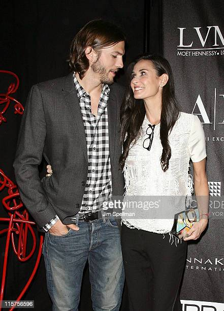 Actors Ashton Kutcher and Demi Moore attend The Urban Zen Stephan Weiss Apple Awards at Urban Zen on June 9 2011 in New York City