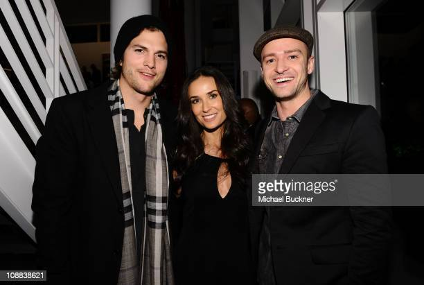 Actors Ashton Kutcher Demi Moore and Justin Timberlake attend the Super Bowl 2011 Audi Celebration at the Audi Forum Dallas on February 4 2011 in...