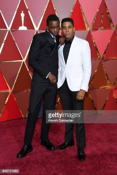 Actors Ashton Sanders and Jharrel Jerome attend the 89th Annual Academy Awards at Hollywood Highland Center on February 26 2017 in Hollywood...