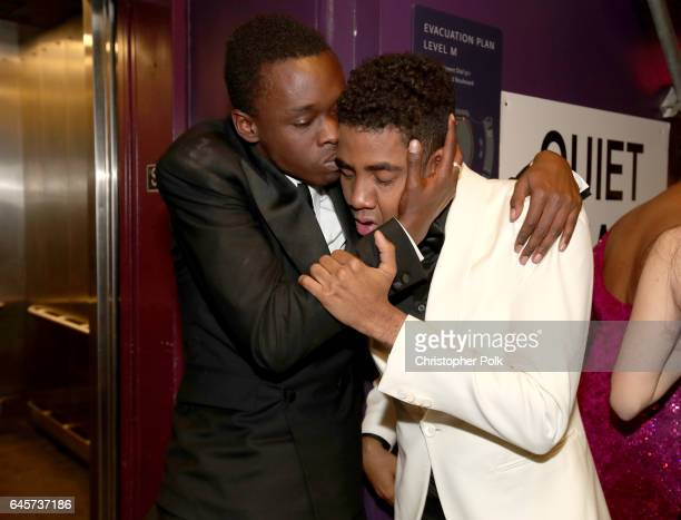 Actors Ashton Sanders and Jharrel Jerome backstage during the 89th Annual Academy Awards at Hollywood Highland Center on February 26 2017 in...