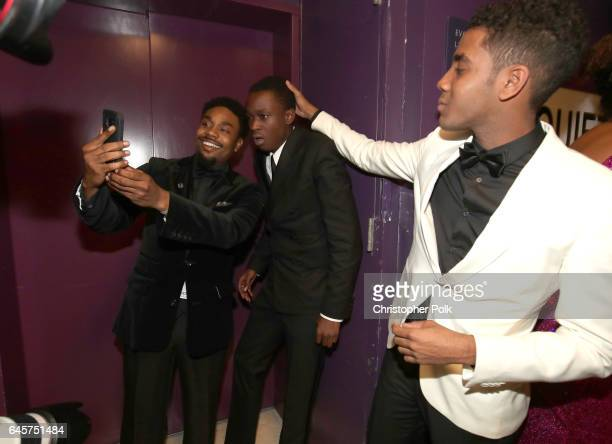 Actors Ashton Sanders and Jharrel Jerome pose backstage during the 89th Annual Academy Awards at Hollywood Highland Center on February 26 2017 in...
