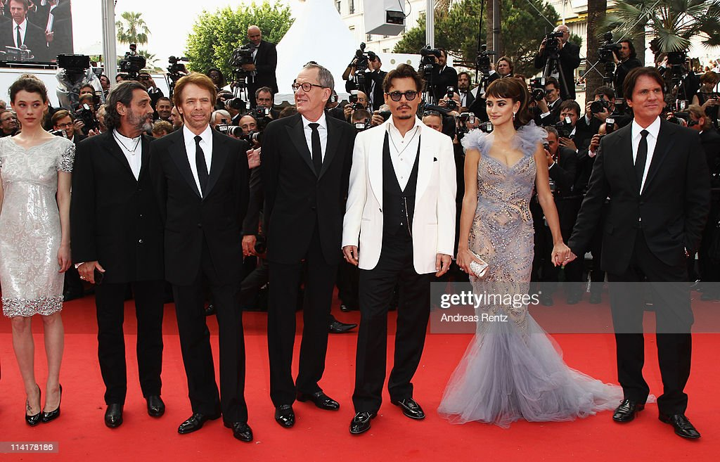 Actors Astrid Berges-Frisbey, Ian McShane, producer Jerry Bruckheimer, Geoffrey Rush, <a gi-track='captionPersonalityLinkClicked' href=/galleries/search?phrase=Johnny+Depp&family=editorial&specificpeople=202150 ng-click='$event.stopPropagation()'>Johnny Depp</a>, Penelope Cruz, and director Rob Marshall attend the 'Pirates of the Caribbean: On Stranger Tides' premiere at the Palais des Festivals during the 64th Cannes Film Festival on May 14, 2011 in Cannes, France.