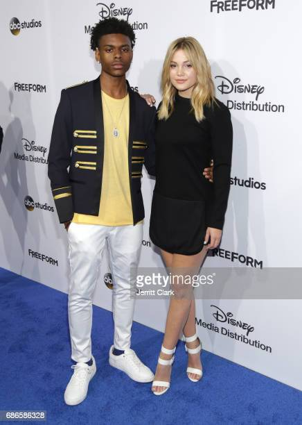 Actors Aubrey Joseph and Olivia Holt attend the 2017 ABC/Disney Media Distribution International Upfront at Walt Disney Studio Lot on May 21 2017 in...