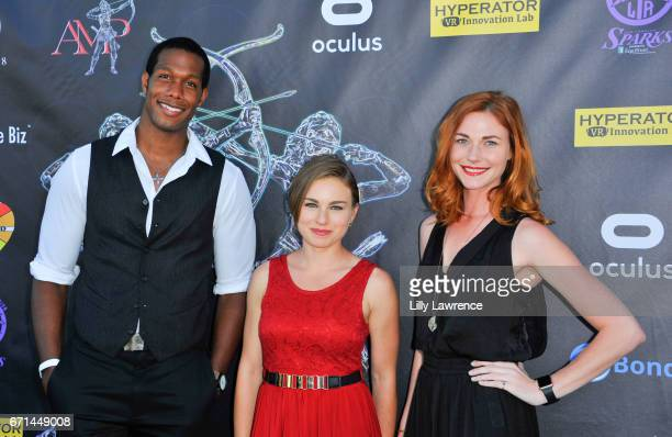 Actors Aubrey Marquez Elise Zel and Erin Breen attend Artemis Women In Action Film Festival at Laemmle's Ahrya Fine Arts Theatre on April 20 2017 in...