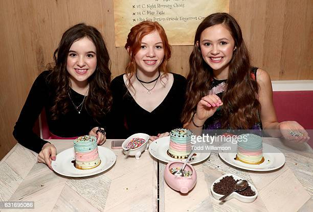 Actors Aubrey Miller Abby Donnelly and Olivia Sanabia attend the second season premiere of Amazon Original Series 'Just Add Magic' at Au Fudge on...