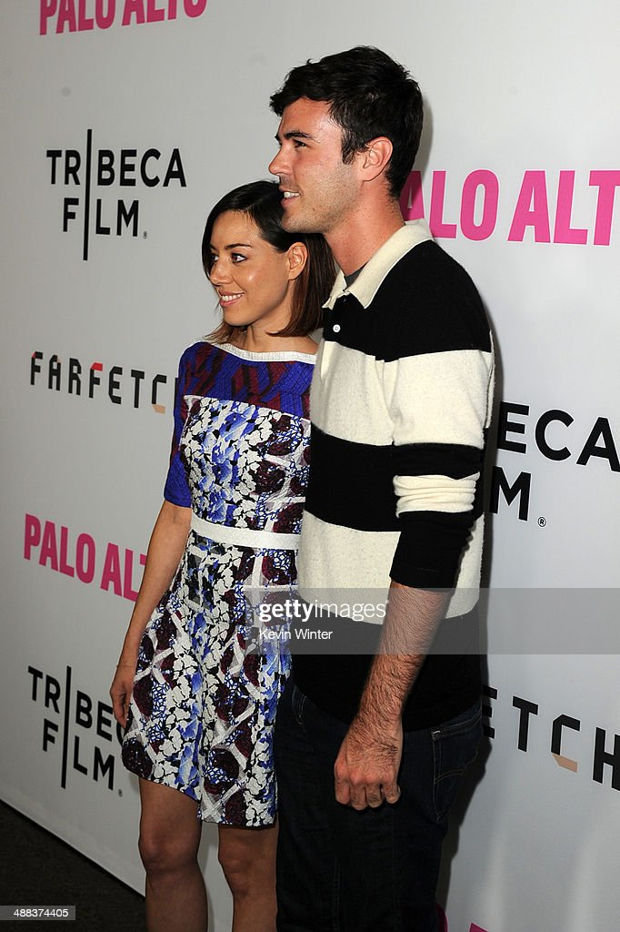 Actors Aubrey Plaza and Blake Lee attend the premiere of Tribeca Film's 'Palo Alto' at the Directors Guild of America on May 5 2014 in Los Angeles...