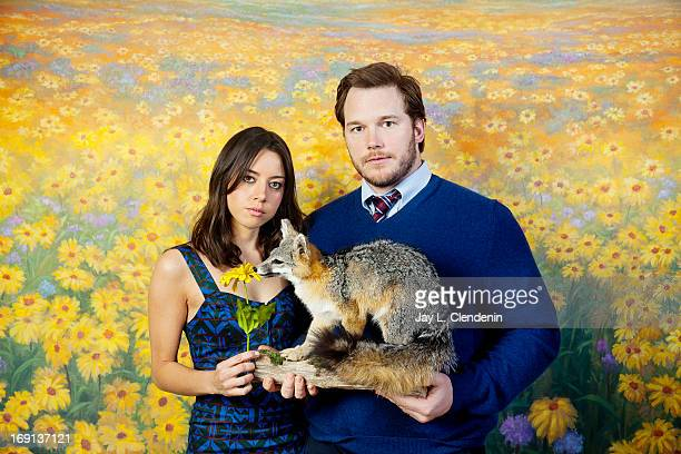Actors Aubrey Plaza and Chris Pratt are photographed for Los Angeles Times on March 7 2013 in Studio City California PUBLISHED IMAGE CREDIT MUST READ...