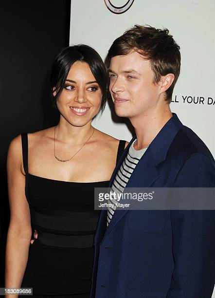 Actors Aubrey Plaza and Dane DeHaan arrive at the Los Angeles premiere of 'Kill Your Darlings' at the Writers Guild Theater on October 3 2013 in...
