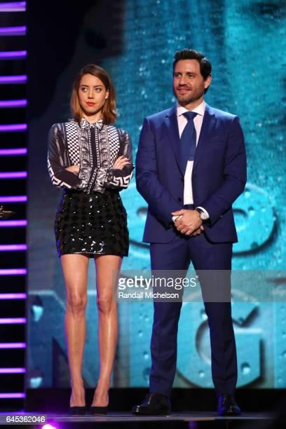Actors Aubrey Plaza and Édgar Ramírez speak onstage during the 2017 Film Independent Spirit Awards at the Santa Monica Pier on February 25 2017 in...