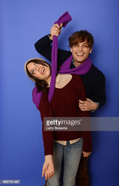 Actors Aubrey Plaza and Matthew Gray Gubler pose for a portrait during the 2014 Sundance Film Festival at the Getty Images Portrait Studio at the...