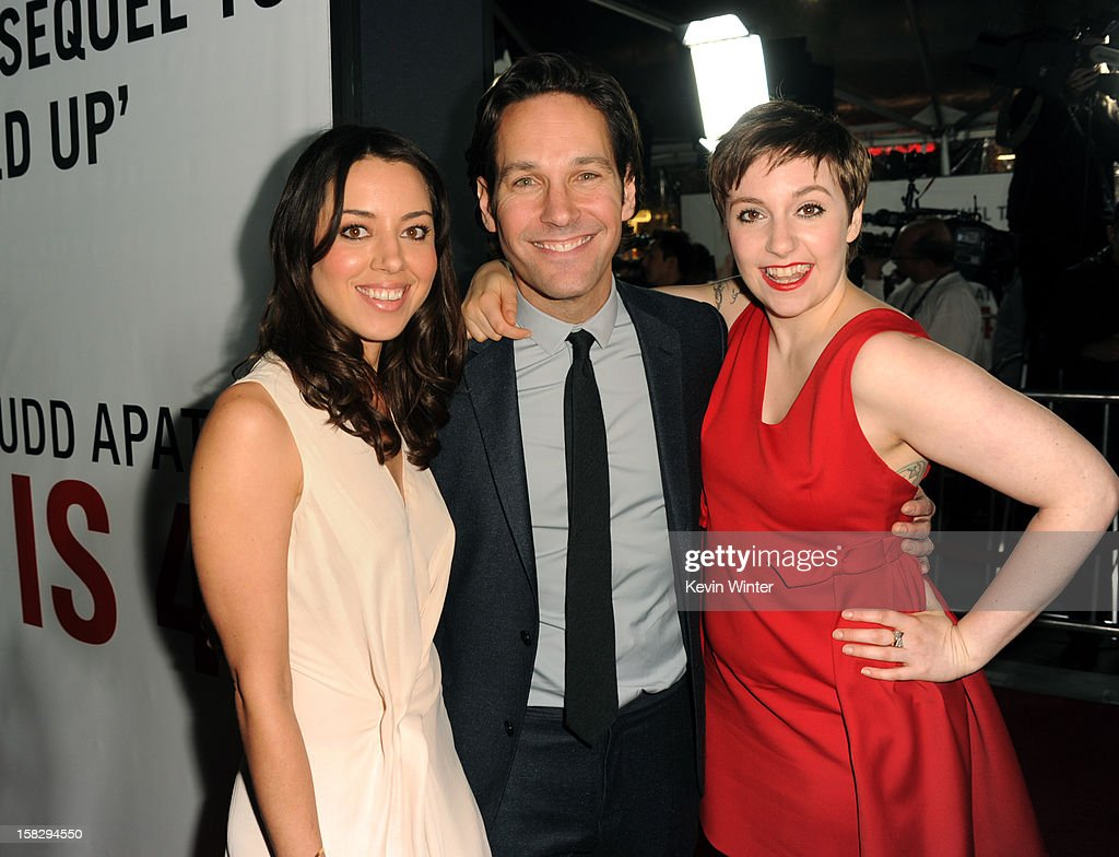 Actors Aubrey Plaza, <a gi-track='captionPersonalityLinkClicked' href=/galleries/search?phrase=Paul+Rudd&family=editorial&specificpeople=209014 ng-click='$event.stopPropagation()'>Paul Rudd</a> and <a gi-track='captionPersonalityLinkClicked' href=/galleries/search?phrase=Lena+Dunham&family=editorial&specificpeople=5836535 ng-click='$event.stopPropagation()'>Lena Dunham</a> attend the Premiere Of Universal Pictures' 'This Is 40' at Grauman's Chinese Theatre on December 12, 2012 in Hollywood, California.