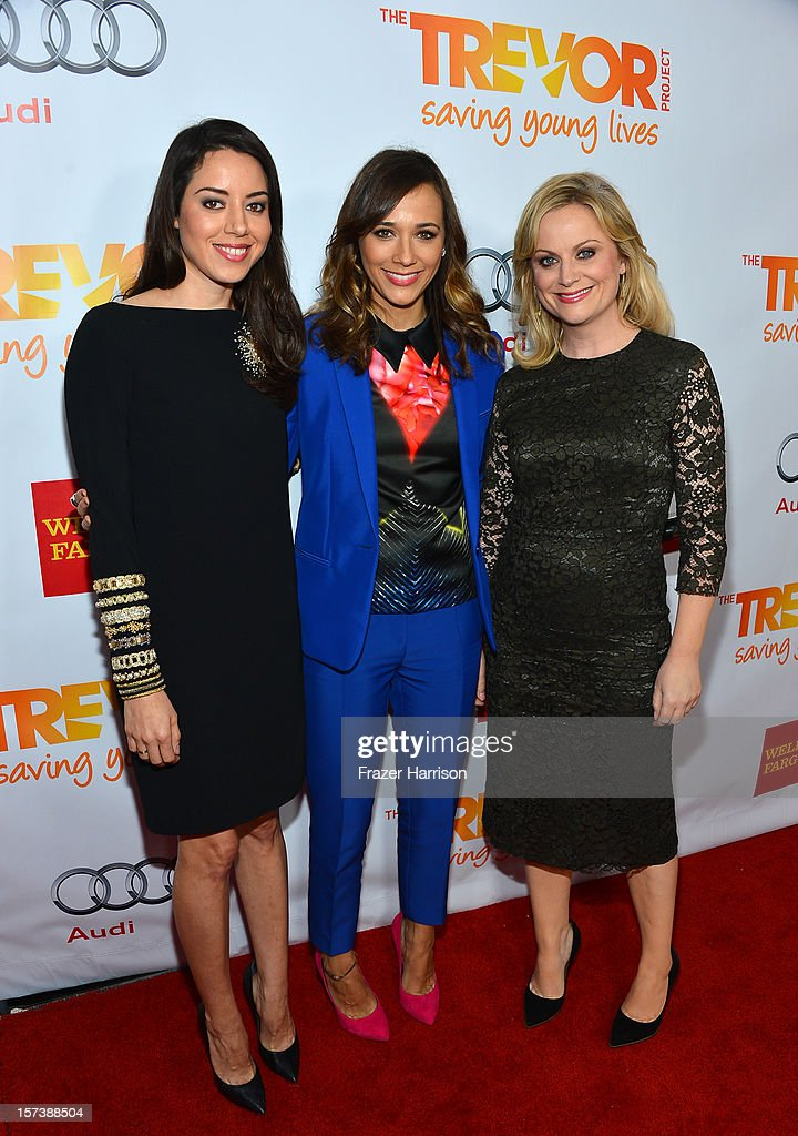 Actors Aubrey Plaza, Rashida Jones, and Amy Poehler arrive at 'Trevor Live' honoring Katy Perry and Audi of America for The Trevor Project held at The Hollywood Palladium on December 2, 2012 in Los Angeles, California.
