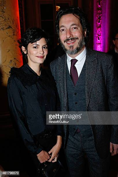 Actors Audrey Tautou and Guillaume Gallienne attend Luc Besson receives the First 'Gold Medal of the Academy of Arts and Techniques of Cinema' Held...