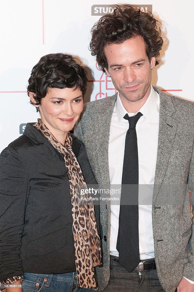 Actors Audrey Tautou and Romain Duris attends the 'Casse Tete Chinois' Paris Premiere at Le Grand Rex on November 10, 2013 in Paris, France.