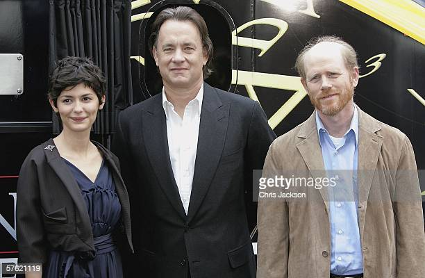 Actors Audrey Tautou Tom Hanks and director Ron Howard name a new Eurostar Train The Da Vinci Code at Eurostar's Waterloo International Terminal on...