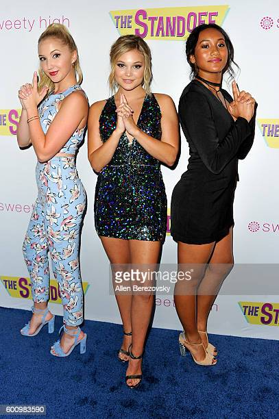 Actors Audrey Whitby Olivia Holt and Sydney Park attend the premiere of Vision Films' 'The Standoff' at Regal LA Live A Barco Innovation Center on...