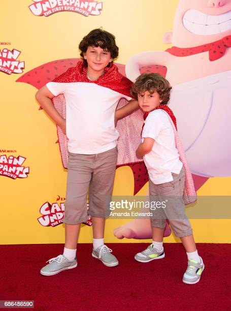 Actors August Maturo and Ocean Maturo arrive at the premiere of 20th Century Fox's 'Captain Underpants The First Epic Movie' at the Regency Village...