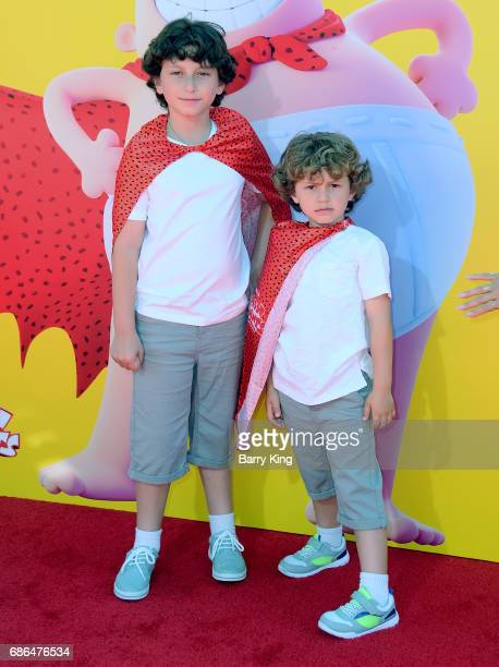 Actors August Maturo and Ocean Maturo attend the premiere of DreamWorks Animation and 20th Century Fox's 'Captain Underpants' at Regency Village...