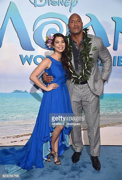 Actors Auli'i Cravalho and Dwayne Johnson attend The World Premiere of Disney's 'MOANA' at the El Capitan Theatre on Monday November 14 2016 in...