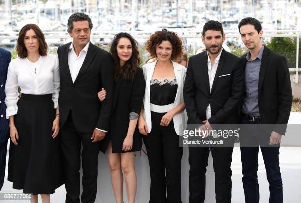 Actors Aure Atika Hassan Kachach Hania Amar Nadia Kaci director Karim Moussaoui and actor Mehdi Ramdani attend 'Waiting For Swallows ' photocall...