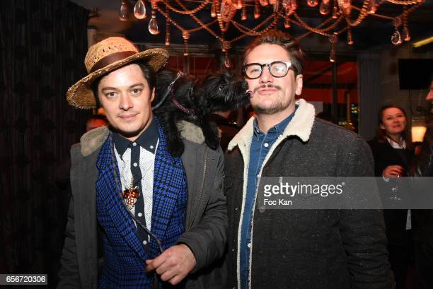 Actors ÊAurelien Wiik Dog Tina and Mathias Van Khache attend 'Apero Mecs A Legumes' Party Hosted by Grand Seigneur Magazine at the Bistrot Marguerite...