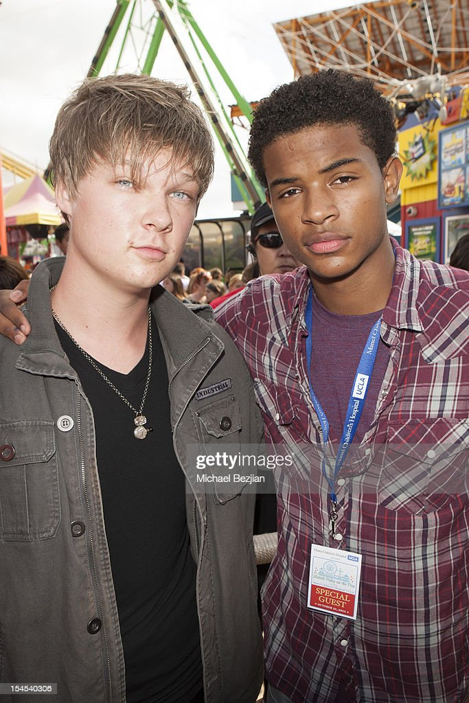 Actors Austin Anderson and Trevor Jackson attend Mattel Party On The Pier Benefiting Mattel Children's Hospital UCLA - Inside at Pacific Park at Santa Monica Pier on October 21, 2012 in Santa Monica, California.