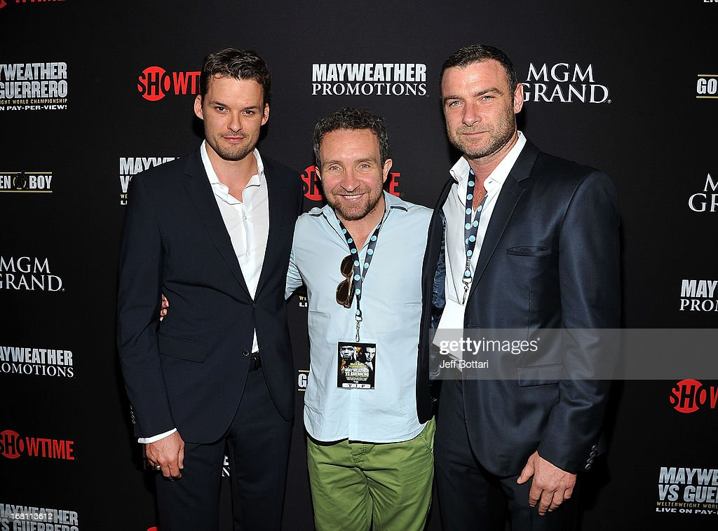 Actors <a gi-track='captionPersonalityLinkClicked' href=/galleries/search?phrase=Austin+Nichols+-+Actor&family=editorial&specificpeople=15108554 ng-click='$event.stopPropagation()'>Austin Nichols</a>, <a gi-track='captionPersonalityLinkClicked' href=/galleries/search?phrase=Eddie+Marsan&family=editorial&specificpeople=2653318 ng-click='$event.stopPropagation()'>Eddie Marsan</a> and <a gi-track='captionPersonalityLinkClicked' href=/galleries/search?phrase=Liev+Schreiber&family=editorial&specificpeople=203259 ng-click='$event.stopPropagation()'>Liev Schreiber</a> arrive at a VIP pre-fight party at the WBC welterweight title fight between Floyd Mayweather Jr. and Robert Guerrero at the MGM Grand Hotel/Casino on May 4, 2013 in Las Vegas, Nevada.